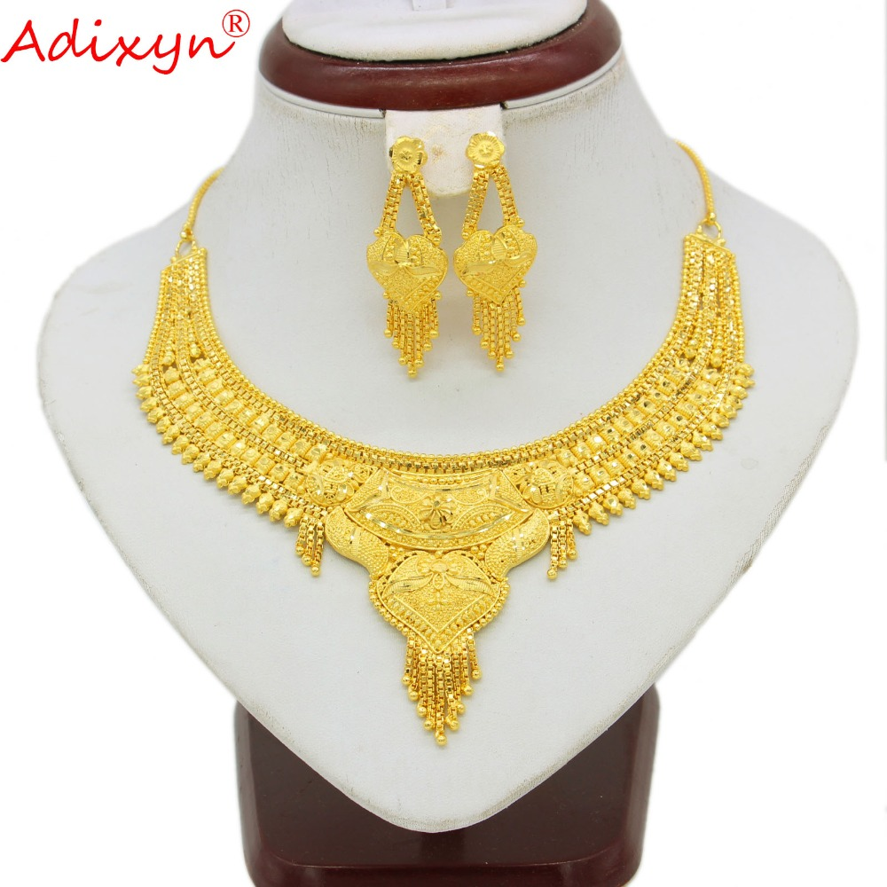 Adixyn India Gold Necklace Earrings Women Girls Jewelry set Gold Color Copper African Ethiopian Engagement Gifts
