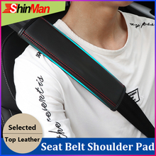 ShinMan 2x Leather CAR Seat belt pad shoulder Safety cover For Jaguar Toyota Audi BMW Benz Ford
