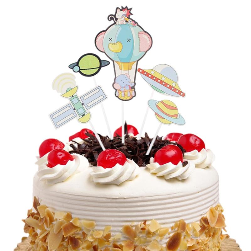 Astounding 20Set Bag Happy Birthday Cake Topper Flags Hot Air Balloon Cloud Funny Birthday Cards Online Necthendildamsfinfo