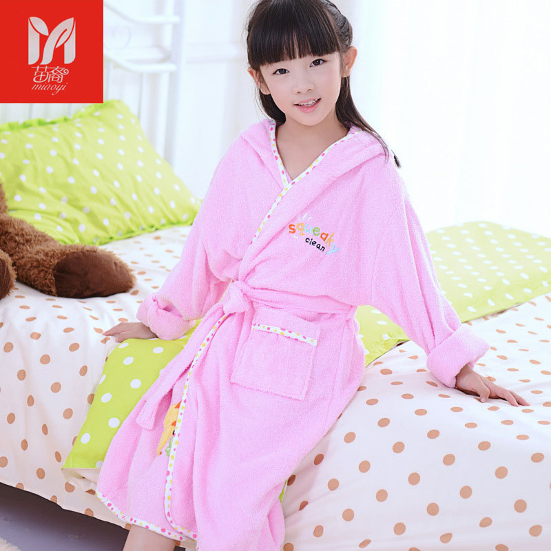 Children bathrobe cotton winter towel material cartoon cap boys and girls bathing bath spa bathrobes