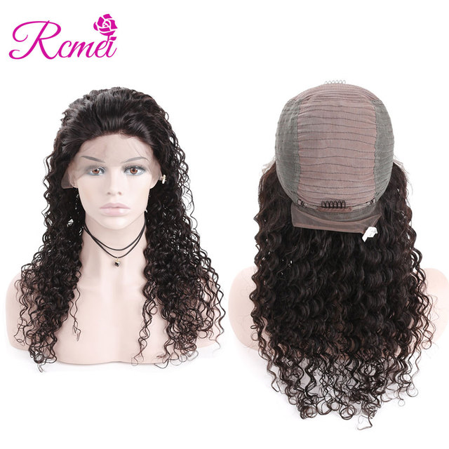Deep Wave Lace Font Human Hair Wigs Natural Black For Women 13*4 Inches Lace Front Wig Natural Hairline Peruvian Remy Hair Rcmei