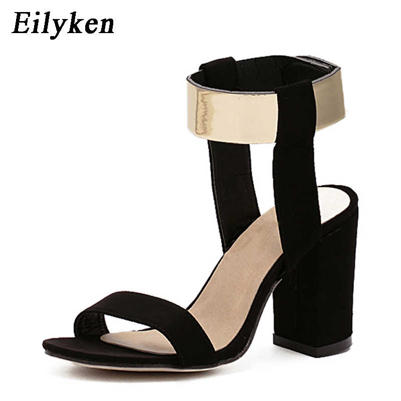 Details about WomenLadies Poen Toe Block High Heels Buckle Sandals Ankle Strap Causal Shoes