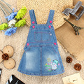 Newborn Baby Girls Cartoon Blue Denim Jumpsuit Overalls Dress 0-4Y