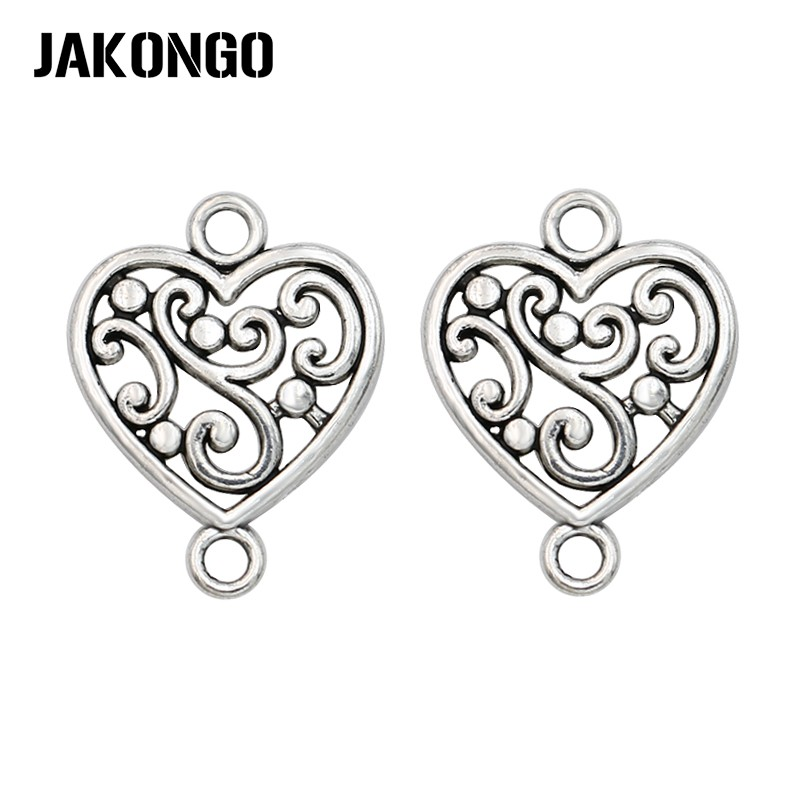 20pcs Antique Silver Plated Heart Flower Connectors Charm Pendant Jewelry Making Findings Accessories DIY Handmade 19x15mm