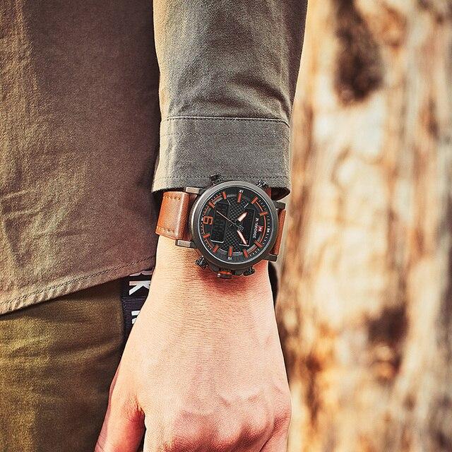 2019 NAVIFORCE New Men's Fashion Sport Watch Men Leather Waterproof Quartz Watches Male Date LED Analog Clock Relogio Masculino 6