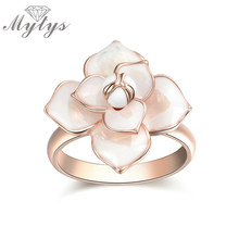 Mytys New Design High Quality Enamel Fashion Flower Ring for Women 2018 New Arrival Hot Sale Rings R1815(China)
