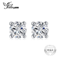 JewelryPalace Round 1ct Simulated Diamond CZ Pure 925 Sterling Silver Stud Earrings For Women Gift Fashion