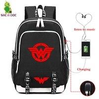 SAC A DOC School Bags Superhero Wonder Woman Character Children's Backpack Teenagers Backpack Laptop Backpacks USB Charge Bags