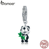 BAMOER Authentic 925 Sterling Silver Cute Panda With Bamboo Charm Pendant Fit Charm Bracelet For Women