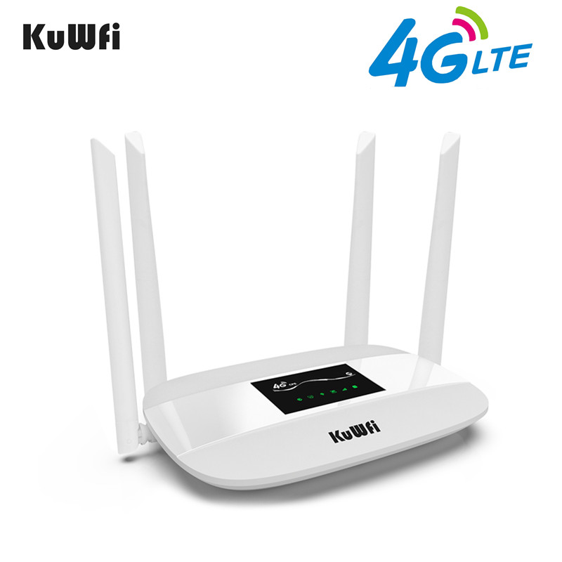 KuWFi Sbloccato 4g LTE Router Wireless 300 Mbps Indoor Wireless CPE Router 4 pz Antenne Con Porta LAN & SIM Card Slot Fino a 32 utenti