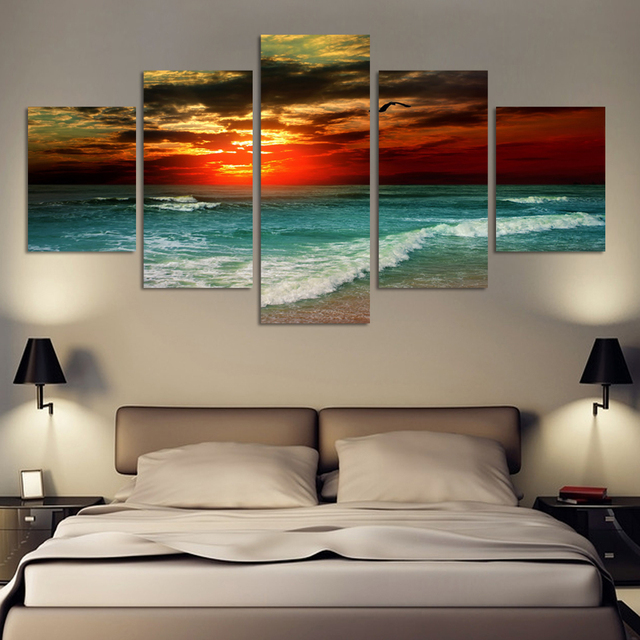 Painting By Numbers 5 Panel Sea Wave Picture Cuadros Canvas Art Seascape Living Room No Frame