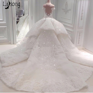 Image 4 - หรูหราดูไบชุดแต่งงานลูกไม้ประกายลูกปัดคริสตัลลูกไม้ชุดเจ้าสาวคำภาพลวงตากลับ Vestido De Noiva Casamento 2018