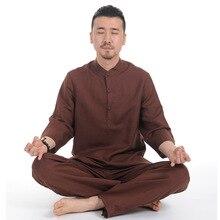 Для мужчин белье йога Костюмы костюм дзен Заказной Костюм Одежда высшего качества Для мужчин быстрое высыхание Лен Йога набор тренажерный зал одежда комплект из двух предметов для человек