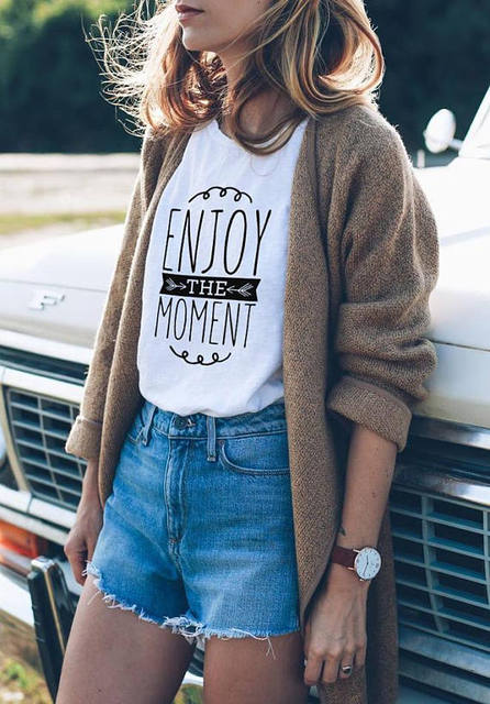 d90ae2a21 Enjoy The Moment T-Shirt Happiness T-Shirt Outfit Unisex Tshirt Urban Style  women