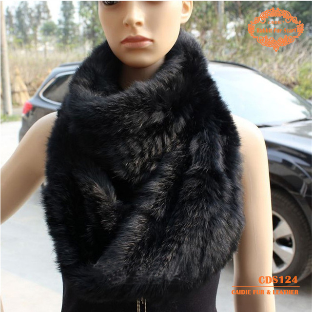 CDS124 Genuine Rex Rabbit fur Knitted Scarves  hot sell winter accessory wholesales