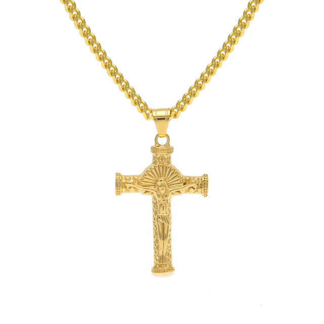 MCSAYS Hip Hop Jewelry Gold Color Jesus Passion Of Christ Cross ...