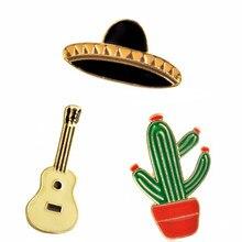 Essere UN Ovest Cowboy! Cappello Chitarra Messicano Cactus Prairie festival di musica Dello Smalto Spille Distintivo In Metallo Delle Ragazze Dei Jeans Della Decorazione del Sacchetto Regalo