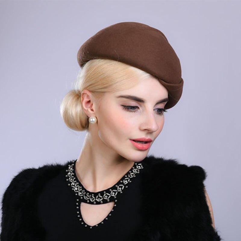 429683def9c26 Fibonacci Noble Elegant Women Wool Felt Beret Bride Headdress Fedora Hat  Dinner Party Wedding Hats-in Fedoras from Apparel Accessories on  Aliexpress.com ...
