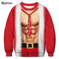 Qybian Macho muscle Christmas costume Sweatshirt Men Hoodie Sweatshirts 2018 Winter Autumn Funny Print Hoody Brand Clothing
