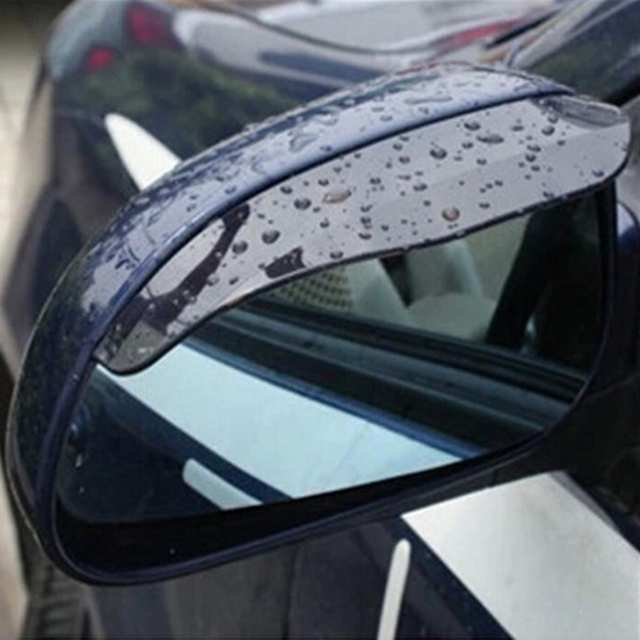 Black 2pcs PVC Car Rear view Mirror sticker rain eyebrow weatherstrip auto mirror Rain Shield shade cover protector guard 1