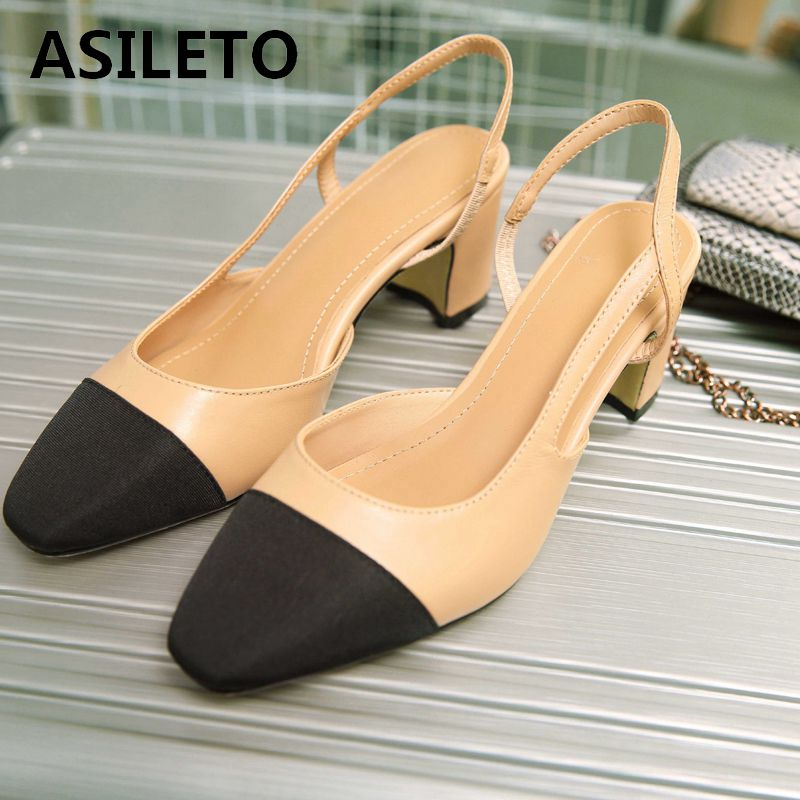 ASILETO Genuine Sheepskin Leather Slingbacks Designer Pumps High Heel Shoes Party Wedding Pointed Stilettos Patchwork Chaussures