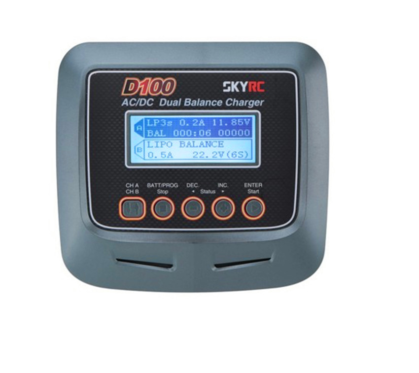 Original SKYRC AC 100-240V DC 11-18V 1-15S  2x 100W Dual Balance Charger D100 for RC Model+1 * AC power cable 2 * XH adapter skyrc d100 2 100w ac dc dual balance charger 10a charge 5a discharge nimh lipo battery charger twin channel charge