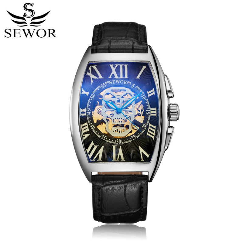 SEWOR Watch Automatico Leather Wristwatches Self-Wind Mechanical Men Watch Skeleton Automatic Luxury Man Watches With Box SWQ55 sewor brand mechanical automatic self wind skeleton watches fashion casual men watch luxury clock genuine leather strap 2017