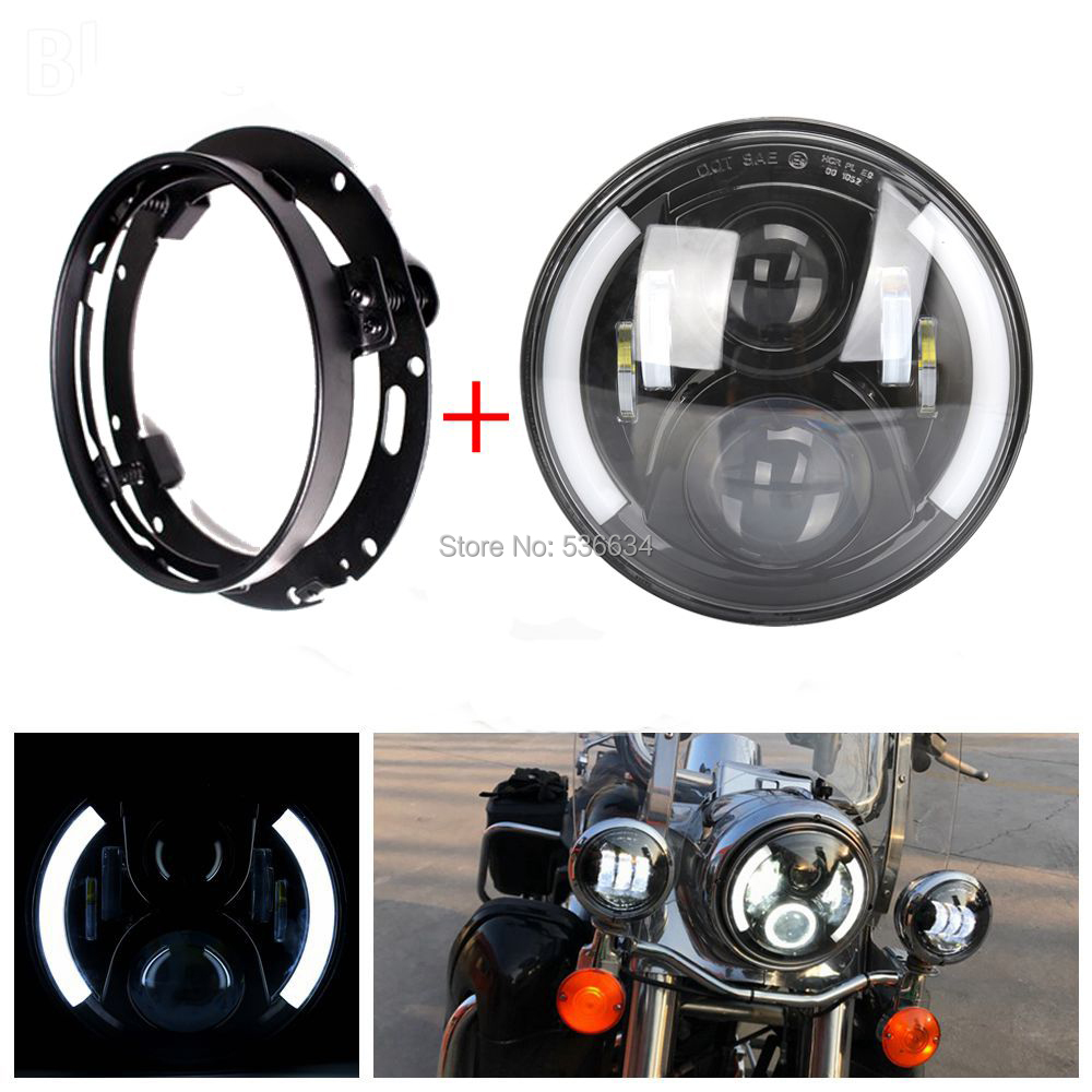 7Inch LED Round Projector Daymaker Headlight Hi/Low DRL + LED Headlight Mounting Ring Bracket For Harley Davidson Softail Slim 7inch led projector daymaker headlight hi low beam led headlight mounting bracket ring for electra glide ultra classic efi
