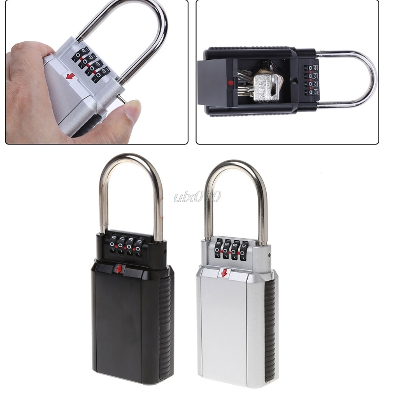Keyed Locks Secret Security Padlock Key Storage Box Organizer Zinc Alloy Safety Lock with 4 Digit Combination Password July7