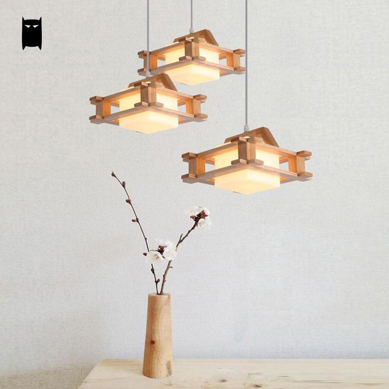 Square Wood Milly Glass Shade Pendant Light Cord Fixture Nordic Hanging Lamp Avize Lustre Luminaria Dining Table Bed Study Room недорого
