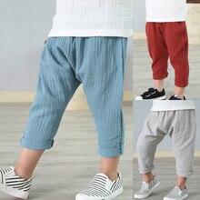Купить с кэшбэком Summer Solid Color Linen Pleated Children Ankle-length Pants for Baby Boys Pants Harem Pants for Kids Child