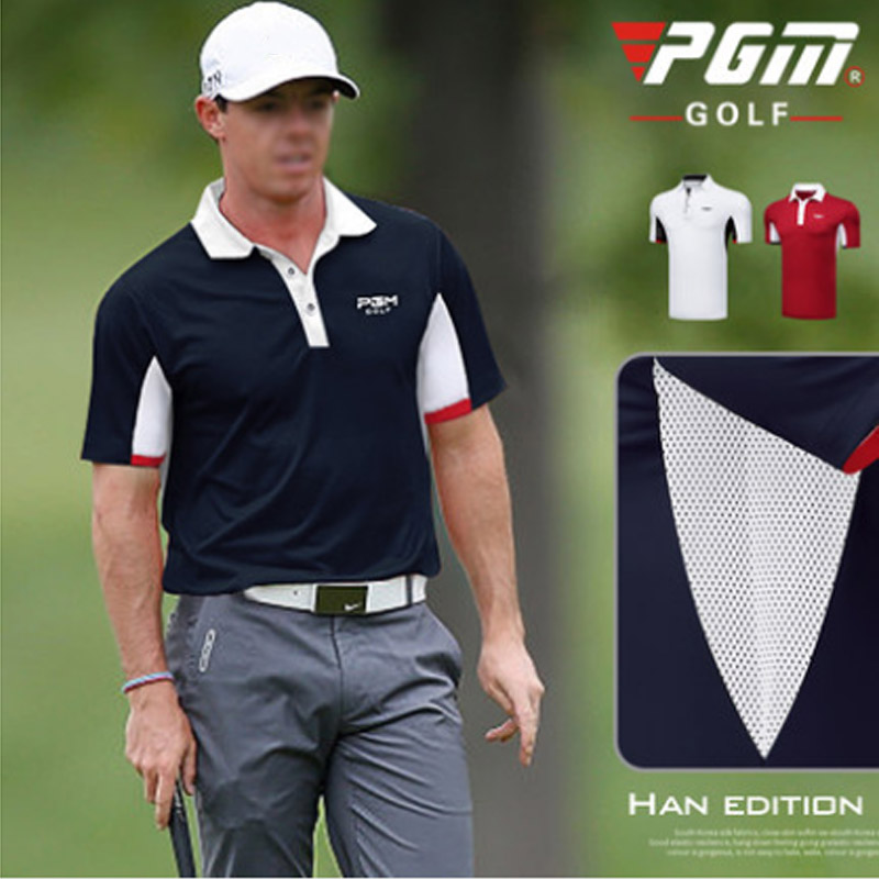 2018 PGM Brand LOGO Lastest Golf Shirt for Men Mesh Breathable Loose Jersey Turn down collar POLO Short shirt white navy M xxl