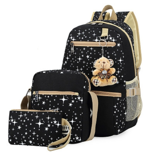 2016 New Canvas Girl School Bags For Teenagers backpack women Three piece  suit shoulder bags 3 477222515abc9