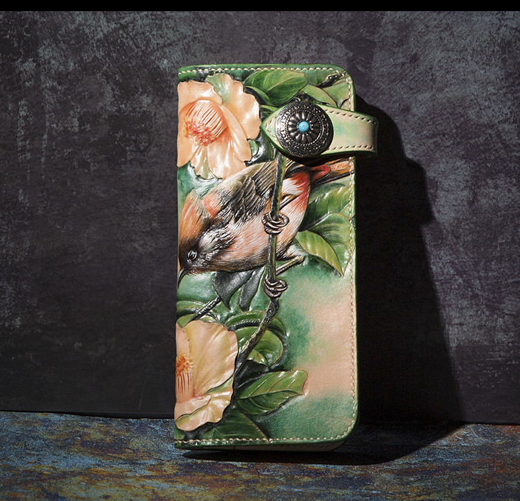 High-end Handmade Wallets Carving Flower-bird Love Purses Men Long Clutch Vegetable Tanned Leather Wallet Card Holder