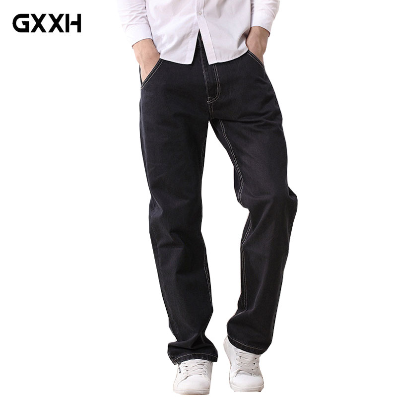 Spring and Autumn Loose Straight Mens Trousers Thick cotton Large size Black Casual jeans Ladies Classic Denim Casual Pants