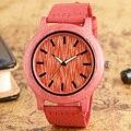 Madeira De Bambu Red Quartz Relógio de Pulso Moda de luxo Presente relogio masculino Dos Homens Das Mulheres Pulseira de Couro Genuíno Relógios De Madeira