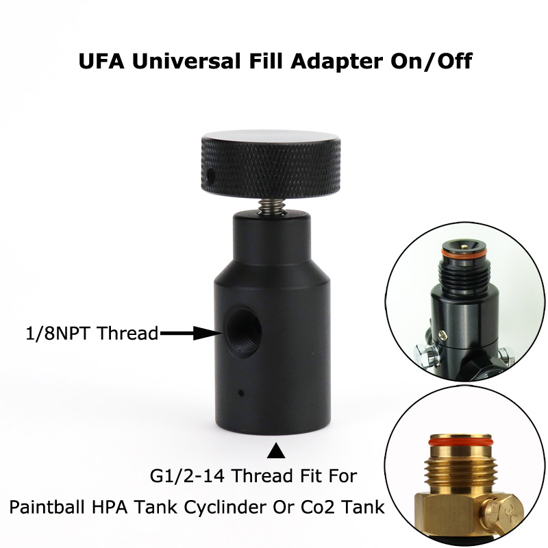 New Paintball PCP Remote Hose UFA Universal Fill Adapter CO2 HPA Adapter On/Off ASA Large Knob (BLACK)