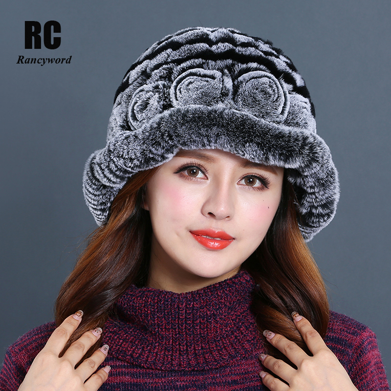 [Rancyword] Real Rex Rabbit Fur Hats Women's Winter Beanie Female Knitted Elegant Beanies Flowers Paisley Real Fur Caps RC1302-1