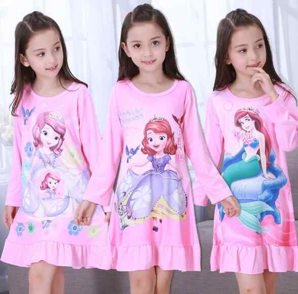 f0404b9ad411 Spring   Autumn Big girls Nightgown Pajamas kids long sleeved nightdress  cute cartoon child female baby