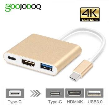 USB C концентратор Hdmi адаптер для Macbook Pro, goojodoq Тип usb C концентратор к Hdmi 4 К USB 3,0 Порты и разъёмы с USB-C Мощность доставки