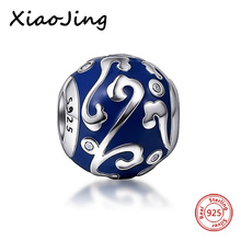 Original European Bracelets silver 925 beads blue color Enamel charm Jewelry Making for women Gifts sterling- silver-Jewelry