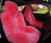 full set Car Seat Cushion Sheepskin Car Front Seat Cover Winter Warm Woolen Auto Seat Cover Long woolen Short Artificial fur