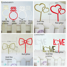1pcs 2017 New Wedding Ring Cake Topper Acrylic Golden red Bride Groom Anniversary Party Decoration LUHONGPARTY