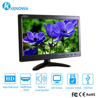 NEW 10.1 1920*1080 LCD HD Monitor Mini Computer Display LED Screen 2 Channel Video Input Security Monitor With Speaker VGA HDMI