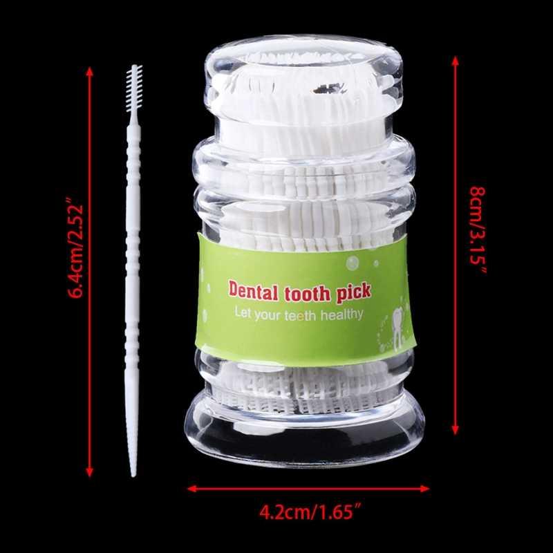 200 sztuk z tworzywa sztucznego wybory Dental higieny jamy ustnej 2 Way szczoteczka międzyzębowa wykałaczka plastikowe wykałaczki