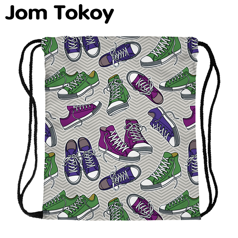 JomTokoy Fashion Women Waterproof Backpack Shoes Printing Travel Softback Women Mochila Drawstring Backpacks Skd29055