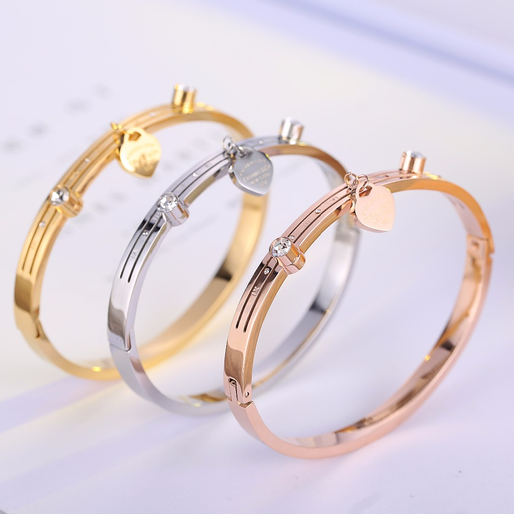 Top Quality Tifny Rose Gold Heart Stripe brand Fashion Jewelry Cuff Bangles 316L Stainless Steel Bracelets For Women