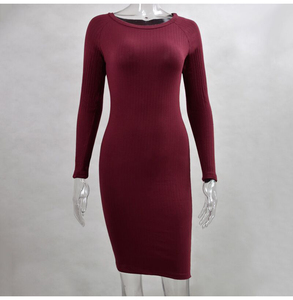 Image 5 - Women Bodycon Mini Dress Knitted Cotton Long Sleeve Burgundy Dresses 2020 Spring Pure Casual Black Women Clothes Ladies Dress