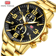 2019 NEW Arrival Top Brand Luxury Royal Golden Men Watch Waterproof Man Quartz Chronograph Fashion Sports MINI FOCUS Wristwatch