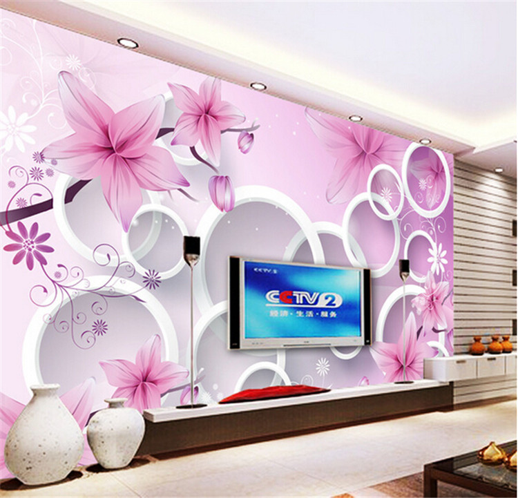 Flowers Wall Wallpapers Design For Your Bedrooms Decorating: 3D Elegant Pink Lily Photo Wallpaper Custom Flower Wall